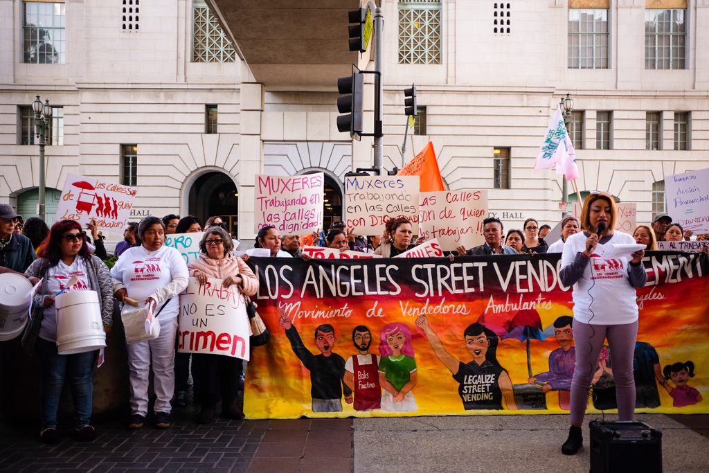 A crowd gathering in support of street vendors in Los Angeles