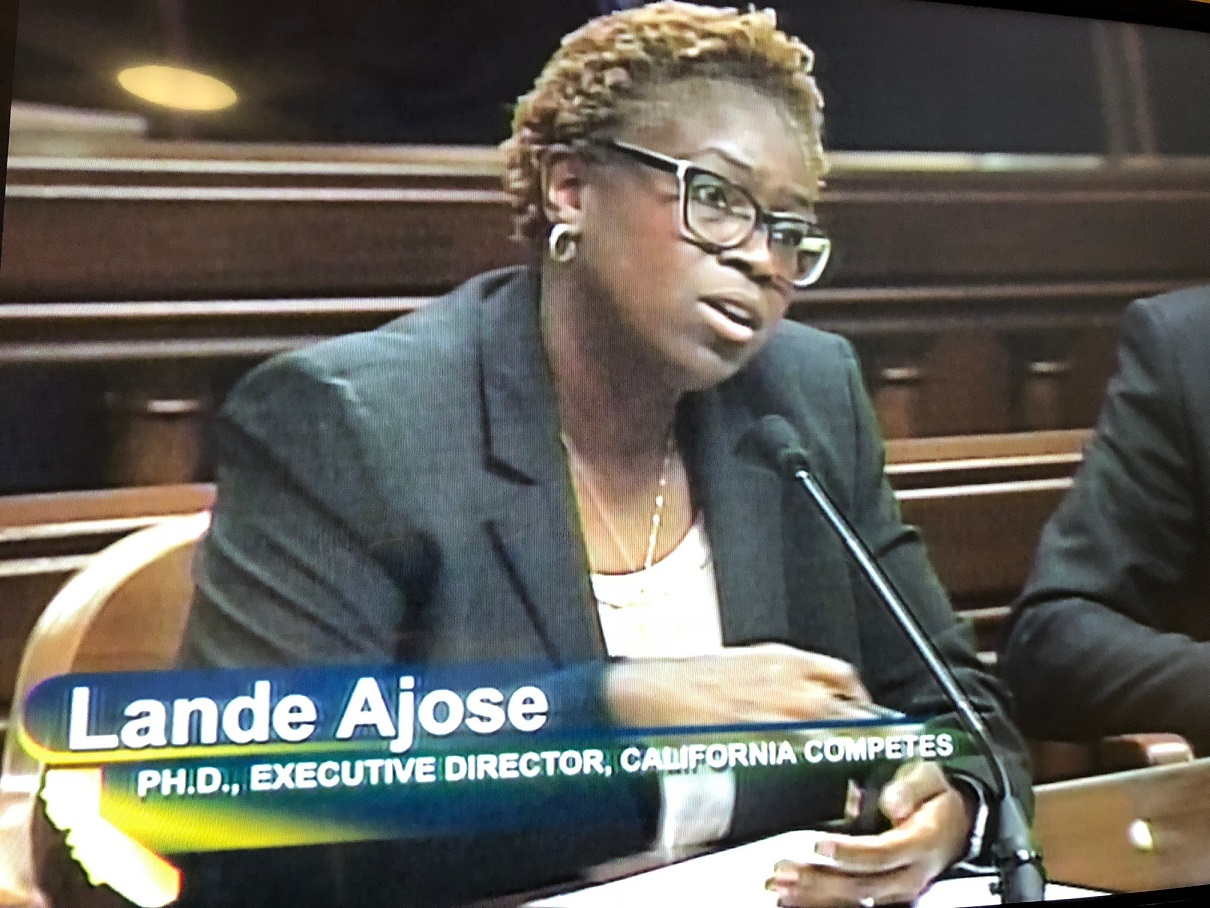 Lande Ajose, testifying for California Competes