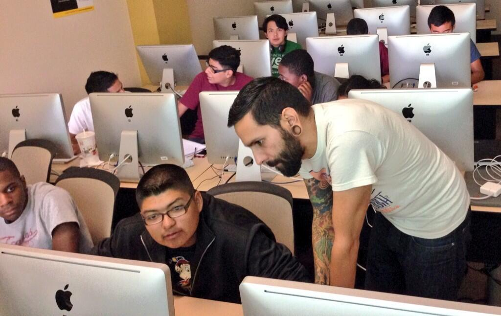 Young men of color learn to code